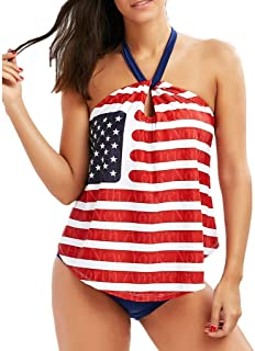 646409fffefc2 Womens American Flag Swimsuit Beach Strappy Surfing Bikini Halter Tankini  Top and Brief Bottom Set Bathing