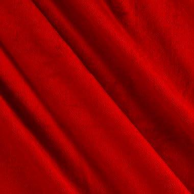 Fabric Solid Minky Plush Scarlet Yard