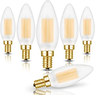 Hizashi 60W High CRI 90+ Dimmable 650lm 6W Frosted LED Filament E12 Candelabra Bulb, 6 Pack 2700K Warm White Candle Light Bulbs, Enhanced Package, UL Listed