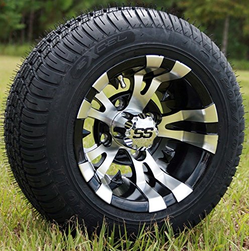 """10"""" VAMPIRE Machined/Black GOLF CART WHEELS AND 205/50-10 LOW PROFILE GOLF CART TIRES COMBO - SET OF 4"""