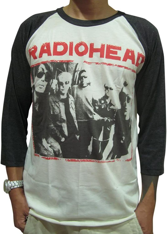 Bunny Brand Men's Radiohead Thom Yorke Rock Music Raglan TShirtWhiteXLarge