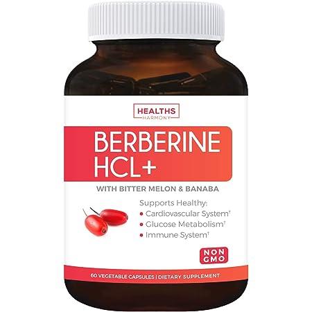 Berberine HCL 500mg (Non-GMO & Vegetarian) Plus Bitter Melon & Banaba Leaf - Blood Sugar Support Supplement & AMPK Metabolic Activator - 60 Capsules - No Pills