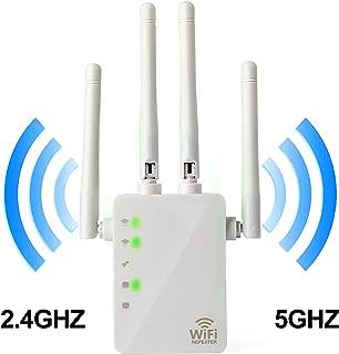 5GHz WiFi Range Extender - 1200Mbps WiFi Long Range Extender Repeater/Access Point/Router Dual Band Wireless Signal Booster & Gigabit Ethernet Port WiFi Range Amplifier 4 External Antennas