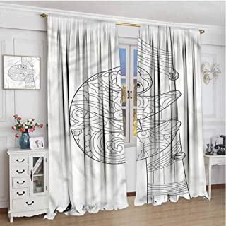 Paddy Benedict Home Decoration Thermal Insulated Curtains W72 x L108 Inch,Thermal Insulated Light Blocking Drapes for Bedroom,Sloth,Sloth Outline Ornaments
