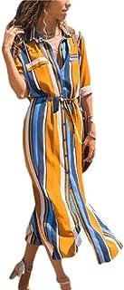 Mogogo Women's Striped Lace Up Detail Chiffon Slim Casual Summer Long Dress