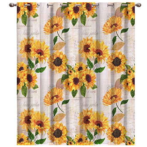 """Futuregrace Elegant Blackout Curtains by, Sunflower with Newspaper Background Livingroom Bedroom Darkening Window Draperies & Curtains Home Office Decor 52"""" W by 52"""" L"""