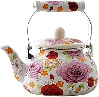 Enamel Teapot floral,Large Porcelain Enameled Teakettle,Colorful Hot Water Tea Kettle pot for Stovetop,Small Retro Classic Design (2.4L, beige)