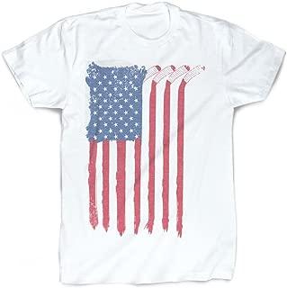 American Flag Sticks T-Shirt | Vintage Faded Hockey T-Shirt by ChalkTalkSPORTS