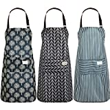 3 Pieces Women Waterproof Apron with Pockets Adjustable Aprons for Kitchen Cooking(Black and Grey)