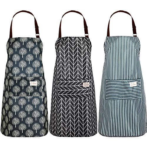 3 Pieces Women Waterproof Apron with Pockets Adjustable Aprons for Kitchen CookingBlack and Grey