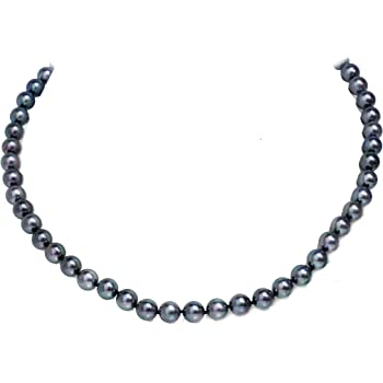 """20/""""  2 rows 8-9 mm black white Akoya SOUTH SEA pearl necklace 14K Gold Clasp"""