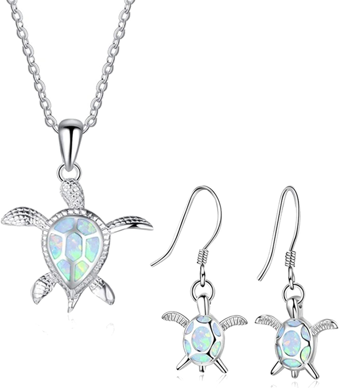 Bridal Jewelry Set for Wedding,Fashion Faux Opal Inlaid Turtle Pendant Necklace Hook Earrings Women Jewelry Set