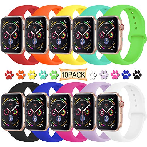 TIMTU Sport Bands Compatible with Apple Watch 38mm/40mm, Durable Silicone Strap Compatible with iwatch Series 4/3/2/1 for Women Men, S/M 10 Pack