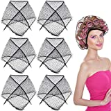OIIKI 6PCS Cotton Triangle Hair Net for Rollers, Women Hair Net Mesh, with 36PCS Hair Pins, for Sleeping, Black, (35 x 35 x 57 Inches)
