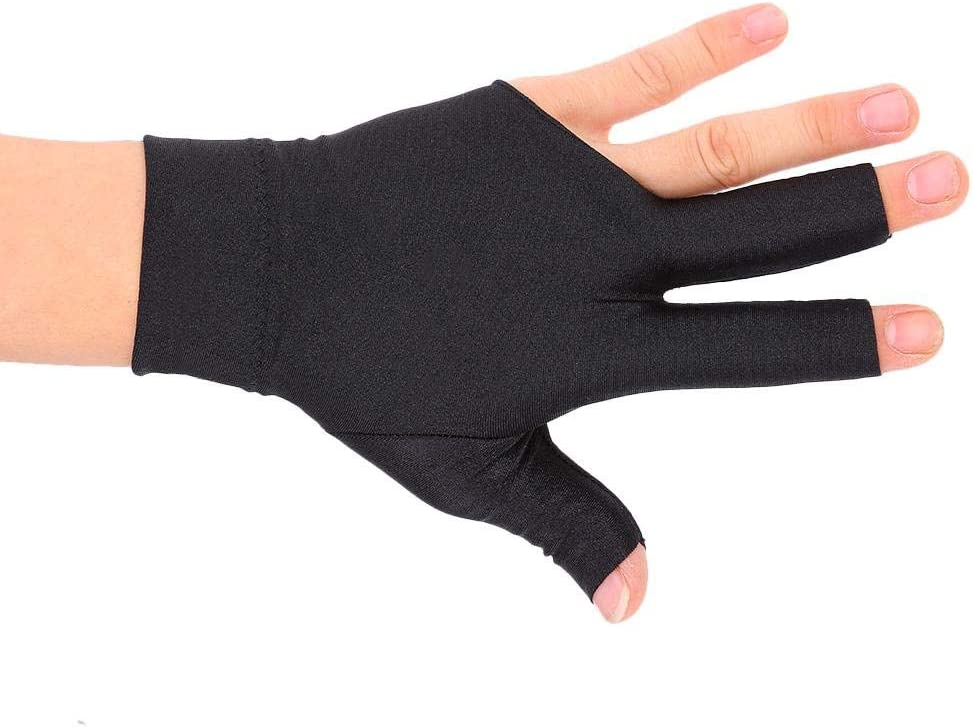 Lycra Fabric Snooker Billiard Cue 3 Finger Gloves Pool Left Hand Open Accessory
