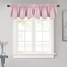NICETOWN Bedroom Blackout Valance Tier - 52 inches by 18 inches Scalloped Rod Pocket Valance Window Curtain for Girl's Room/Baby Nursery/Dormitory/Kids Room, Lavender/Baby Pink, 1 Pack