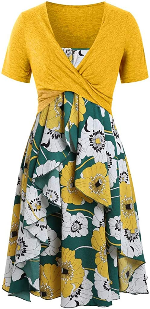 Dress Mikey Store, Women Fashion Short Sleeve Bow Knot Ruffles Spaghetti Strap
