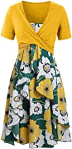 Dresses for Women Casual Summer Short Sleeve Bow Knot Cover Up Tops Sunflower Print Strap Midi Dress Pleated Sun Dresses