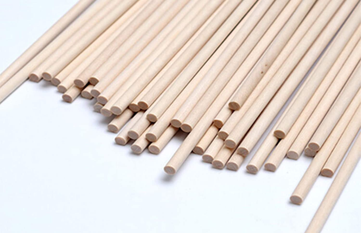 Round Bamboo Craft Sticks   Skewers   Dowels   Great for Arts & Crafts, BBQ, Candy   Safe for Kids   Party Item - Apple, Marshmallow, Hot Dog, Shish Kabob, and More   50 Pieces   5mm (16inch)