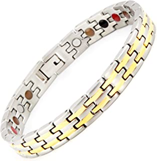 N+NITROLUBE Germanium Magnetic Therapy Energy Bracelet for Women 5 Elements,Titanium Fashion Jewelry and Relieve Arthritis Pain (Silver%Gold,7.28)