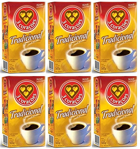 3 Coracoes Traditional Brazilian Ground Coffee - 500 grams - Vacuum Sealed Pack of 4 - Fine Ground Coffee Medium Roast - Naturally Processed for Unique Flavor, Aroma, and Full Body Texture