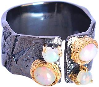 Ravishing Impressions Joyería Auténtica Piedra de ópalo etíope 925 Plata de ley maciza, anillo chapado en oro, joyería hec...