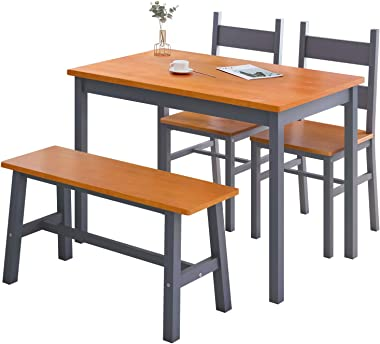 Mecor 4-Piece Kitchen Dining Table Set, Modern Solid Wood Table w/ 2 Chairs and Bench for Home Kitchen Dining Room Furniture,