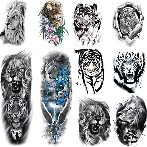 Leoars Tiger Lion Arm Sleeve Tattoos, Fake Lion Tiger Half Arm Tattoos and Full Sleeve Tattoo Stickers for Women Men, 8-Sheet