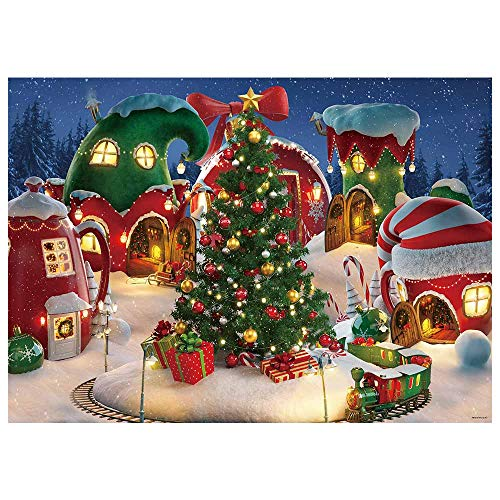 Funnytree 7x5FT Cartoon Christmas Village Photography Backdrop Winter Snow Pine Tree Background Xmas Fairy Tale Animated Kid Party Photo Booth Banner Supplies