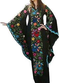 LILIHOT Frauen Vintage Wind Print V-Ausschnitt Trompete Ärmel Langarm Böhmisches Kleid Damen Sommer Böhmisches Kleid Floral Abendkleid Übergröße Maxikleid Lange Kleider