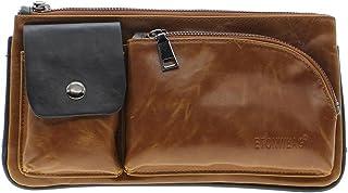 Men/'s Vintage Crazy Horse Leather Hiking Leisure Barrel Messenger Bag