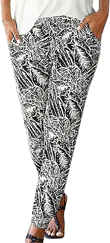 WOSHUAI Boho Beach Pockets Pants Sunfower Printed Casual Pants Smocked Waist Yoga Hippie Palazzo Beach Pants for Mens