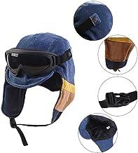 Sombrero de esquí, de invierno, con solapas de oreja, con capucha, para gafas de esquí, al sol, antirdeslumbramiento de escalada, color negro y azul azul