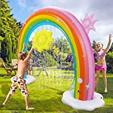 Inflatable Rainbow Water Sprinkler, More Stable Inflatable Rainbow Yard Larger Outdoor Summer Toys with Detachable Flower and Sun Inflatable Water Park Fun Backyard Fountain Rainbow Sprinkler for Kids