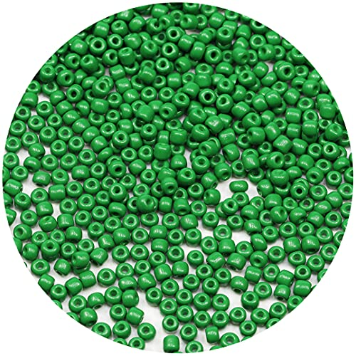 Bala&Fillic Opaque Green Color 4mm Seed Beads About 1200pcs/100Grams in Bag, 6/0 Glass Craft Beads for Making Bracelet and Necklace (Green)