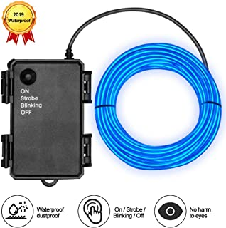 Basdien El Wire Blue Waterproof 16.5ft electroluminescent Wire with Battery Pack 4 Modes for Wedding Lights Festival Lights Upgraded 2019