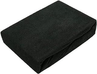 Exklusiv Heimtextil Drap-housse en tissu éponge avec élastique, Noir , 140 - 160 x 200 cm