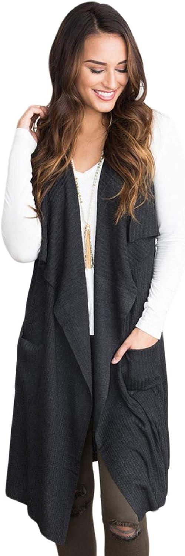 ebossy Women's Sleeveless Open Front Irregular Collar Long Cardigan Sweater Vest with Pocket