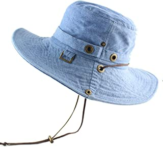 Cotton Sun Hat for Women Men Bucket Denim Spring Summer Fishing Hat Beach Long Large Wide Brim Outdoor Uv Protection Foldable