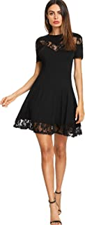 DIDK Women's Soft Contrast Lace Stretchy A Line Short Sleeve Round Neck Swing Short Dress