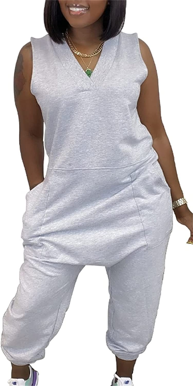 GONELYON Women V Neck 4 years warranty Plus Size Long Baggy 5% OFF Sleeveless P Jumpsuit