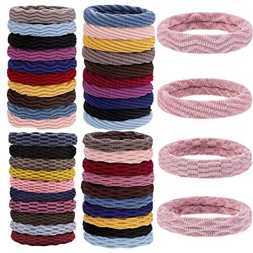 Myhozee 80 Stück Haargummi Damen, Baumwolle Haargummis Zopfgummis Haarbänder Bunt Weiche Pferdeschwanz Haar Gummibänder Zubehör in 10 farben für...