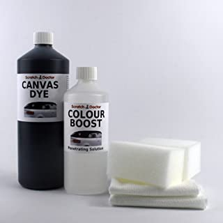 Convertible Roof CANVAS DYE Kit with Colour Boost. Soft Top Restorer (500ml DARK BLUE)
