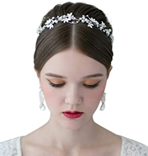 SWEETV Bridal Pearl Headband Silver-Leaf Crystal Bridal Headpiece Wedding Hair Accessories Jewelry Tiara for Women