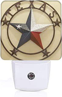 Western Texas Stars LED Night Light (Plug-in) Night Home Decor Desk Lamp with Auto Dusk to Dawn Sensor