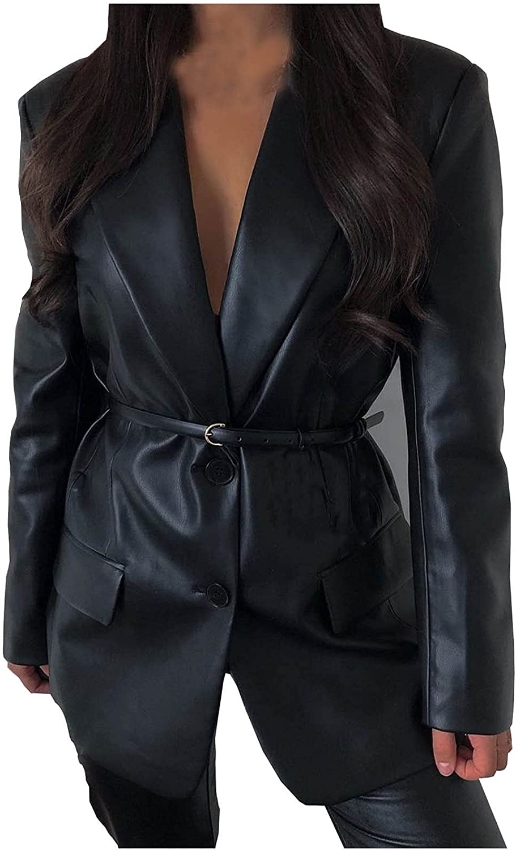 Womens Leather Blazer with Belt Fashion Jackets V Sexy Regular discount 4 years warranty Black Nec
