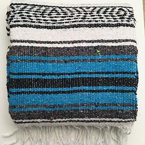 Mexikanische Decke/Überwurf/Teppich, 6-farbig, für Picknick, Camping, Festival, blau