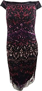Womens Plus Sequined Mesh Cocktail Dress