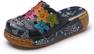 Sandalias Mujer, Popoti Sandalias Verano Cuero Zapatillas Mocasines Chanclas de Bohemia Zapatos de Flores Vintage Zapatill...