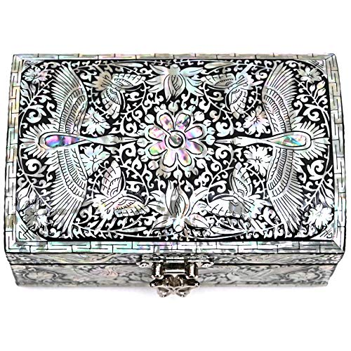 MADDesign Mother of Pearl Jewelry Trinket Box Mirror Lid Silver Black Cranes